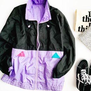 Vintage colorful geometric windbreaker jacket